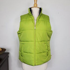 Made for Life Lime Green Zip Puffer Vest, L